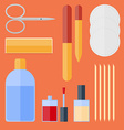 Flat set of manicure equipment vector image