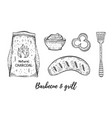 grill and barbecue sketch set coal sausage vector image