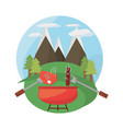 grill bbq meal mountains landscape vector image vector image