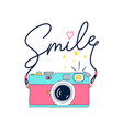 hand drawing print design camera and smile vector image vector image