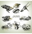 Hand drawn vintage Japanese set vector image vector image