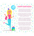 happy birthday poster blonde woman do shopping vector image vector image