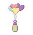 heart shaped party balloons with mason jar vector image vector image