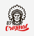 indian chief native american emblem vector image vector image