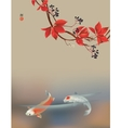 Koi carps and wild grape vector image vector image