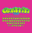 lime graffiti font capital letters numbers and vector image vector image