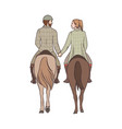 man and woman riding horses together holding vector image vector image