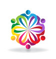 multi-colored teamwork people caring group vector image vector image