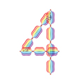 Number 4 made in rainbow colors vector image