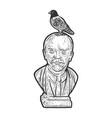 pigeon dove on lenin statue line art sketch vector image