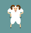 ram angry sheep evil emoji farm animal aggressive vector image vector image