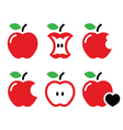 Red apple apple core bitten half icons vector image vector image