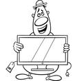 salesman cartoon coloring page vector image vector image