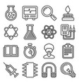 science icons set on white background line style vector image vector image
