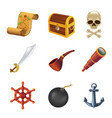 Sea pirate web icon set with human skull saber