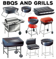 Set of bbqs and grills equipment vector image vector image