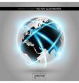 Shiny modern metallic world globe with connections vector image vector image