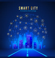 smart city or iot concept road leading to city vector image