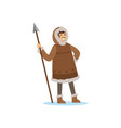 smiling eskimo inuit chukchi man character in vector image vector image