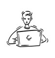 some young person sits at home and works on laptop vector image vector image