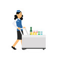 stewardess in uniform serving passengers on the vector image vector image