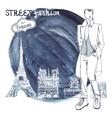 Trendy dudeWatercolor ink steinParis street vector image