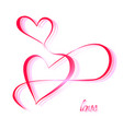 two calligraphically drawn hearts vector image