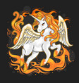 unicorn on fire vector image vector image