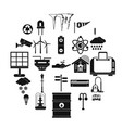 urban icons set simple style vector image vector image