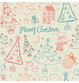 Vintage Christmas Doodle Pattern vector image vector image