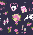 wedding and valentine day seamless pattern vector image vector image