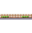 Wooden fence along the road vector image