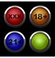 Xxx buttons icons set Red orange blue and green vector image vector image