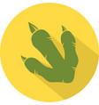 yellow dinosaur footprint circle flat design icon vector image
