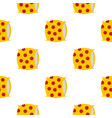 yellow pillow with red dots pattern seamless vector image vector image