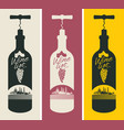 banners set with a bottle of wine and the church vector image