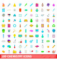 100 chemistry icons set cartoon style vector image