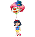 A schoolgirl holding a clown balloon vector image vector image