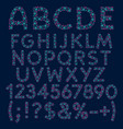alphabet from blue stars and pink circles vector image vector image