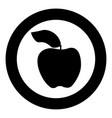 apple the black color icon in circle or round vector image vector image