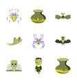 assembly flat cute bat spider book skull ghost vector image vector image
