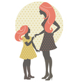 Beautiful mother silhouette with her daughter vector image