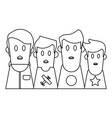 boys friends profile cartoon in black and white vector image