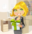 Business lady in office gives a gift from company vector image vector image