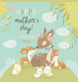 cartoon deer family mother and baby cute animals vector image