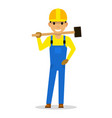 cartoon man builder with a sledgehammer vector image vector image