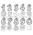 cartoon numbers set coloring book vector image
