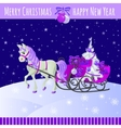 Christmas card with horse and sled with gifts vector image