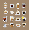 coffee types stickers isolated vector image vector image
