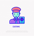 customs thin line icon officer checking passport vector image